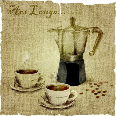 Hand drawing of coffee maker and two cups of coffee on the canvas. vector illustration