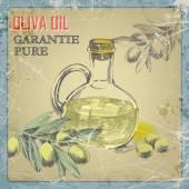 Hand drawn grunge  vintage label bottle of olive oil.vector illustration