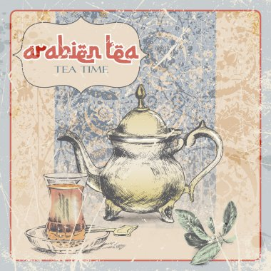 Hand drawn vintage label of Arabic tea.vector illistration