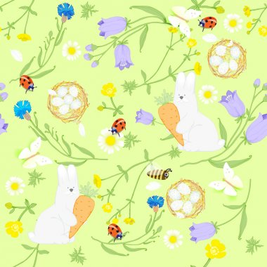 Seamless Easter wildflowers pattern