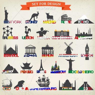 Set of tourist symbols.
