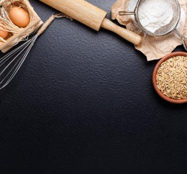 Ingredients for baking on black background