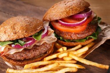 Burgers close up. Top view.