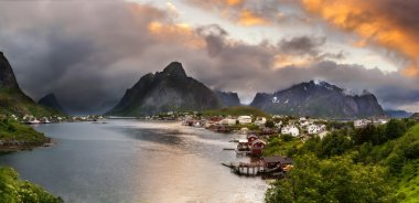 Panorama of  mountains and  Reine in Lofoten islands, Norway
