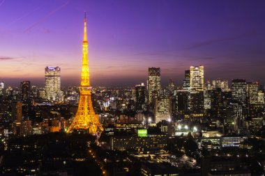 Urban landscape of Tokyo Tower in the evening , Tokyo, Japan
