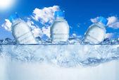 Bottiglie di acqua fredda In cubetti di ghiaccio
