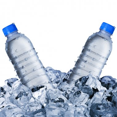 Cold Water Bottles On Ice Cubes