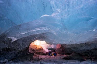 Group of tourists  in Ice cave