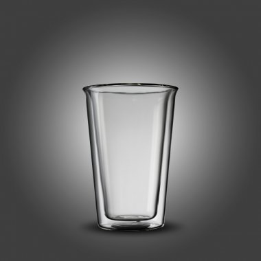 Empty transparent Glass On grey Background stock vector