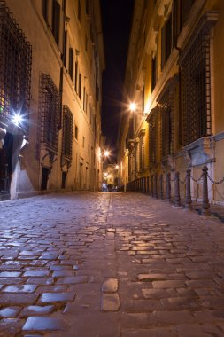 Pedestrian Paths between Buildings in Central Rome at Night