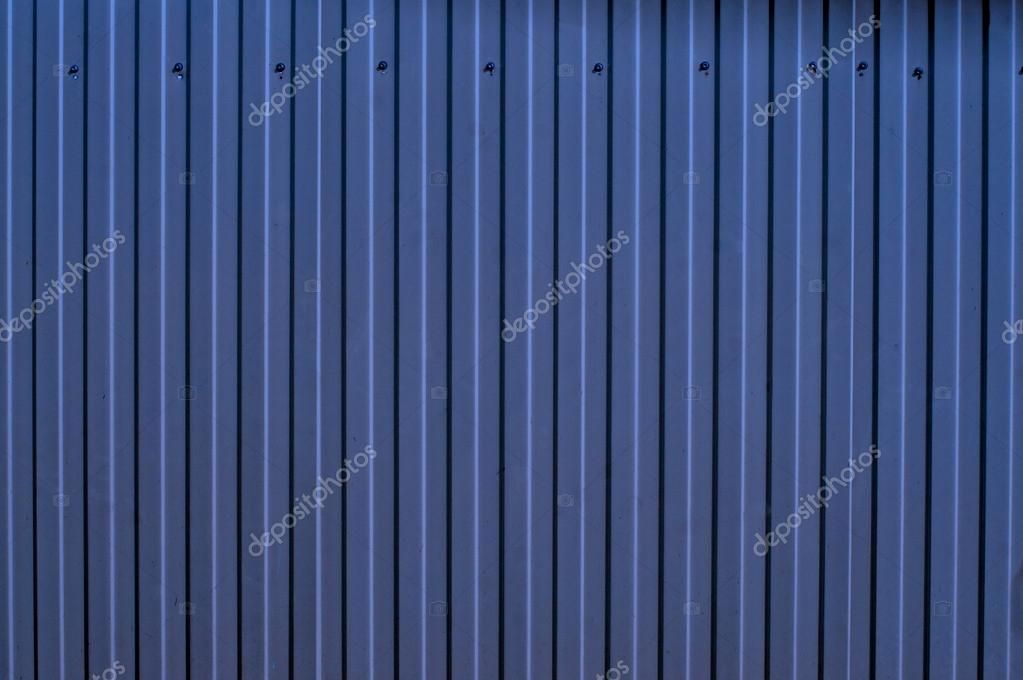 Blue corrugated metal fence as a background — Stock Photo