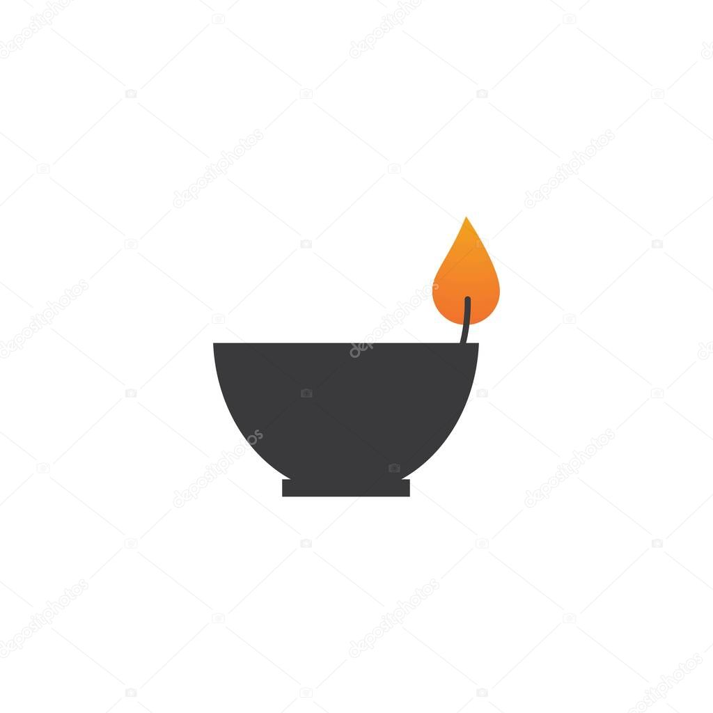 Candle light  icon in flat design vector icon