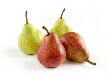 Green and Red Skinned Pears on White Background