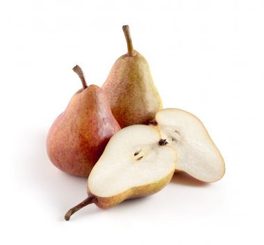 Whole and Split Pears on White Background