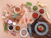 Assortment of  Thai food Cooking ingredients spice taste . Healt