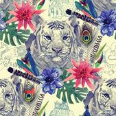 Vintage styl indické tygr hlava vzor s peřím, květy a listy. Akvarel ručně kreslenou vektorové