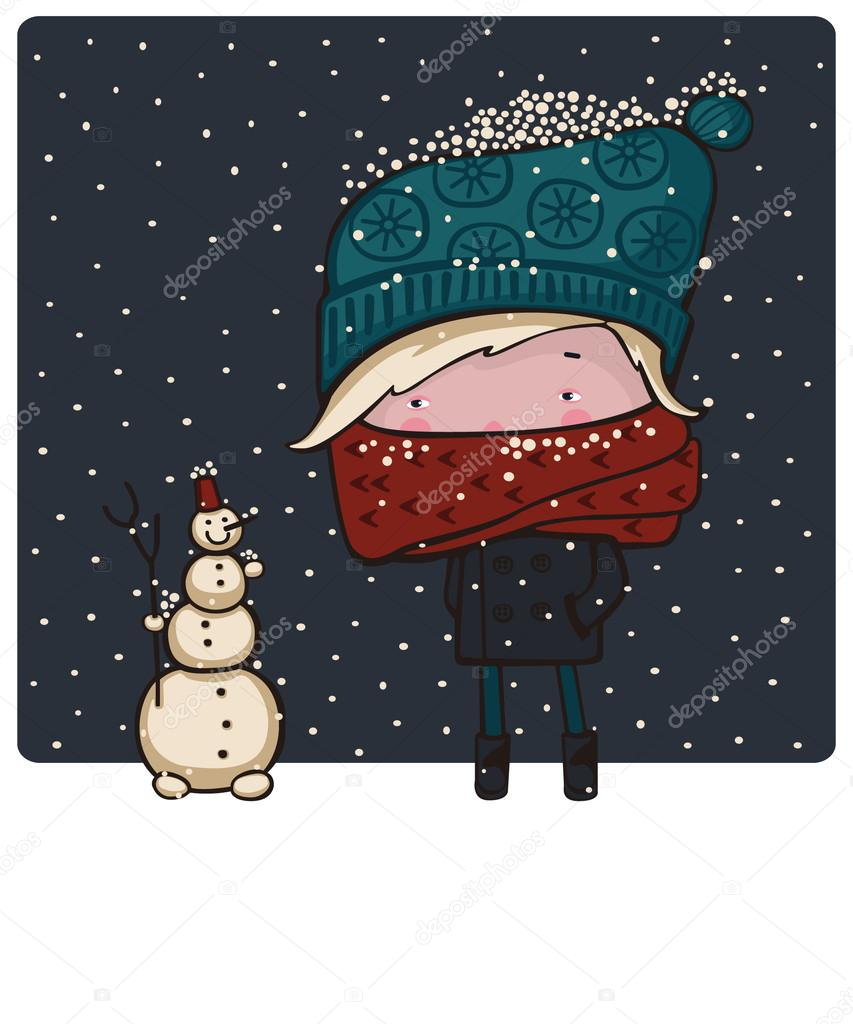 Little girl in a red scarf and blue cap made a snowman.