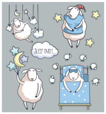 Cute cartoon sheep in vector. sleep party
