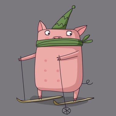 Illustrator of pig cute vector