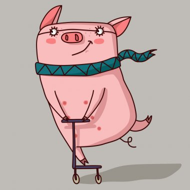 Pig in a scarf rides a scooter.