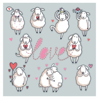 Funny cute sheep. Valentine's Day