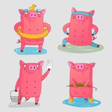 Fanny farm animals - set cute pigs