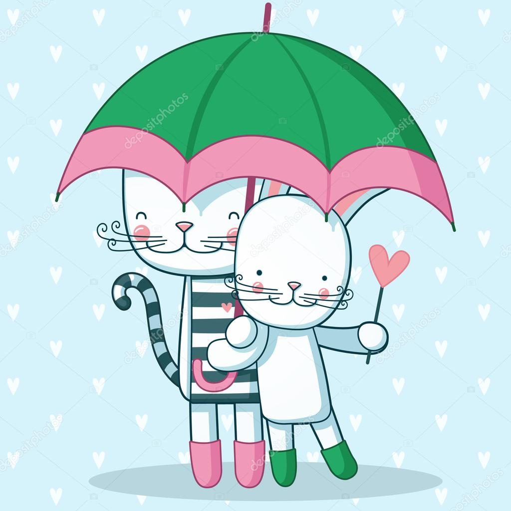 Happy cat and hare are walking in the rain with an umbrella.