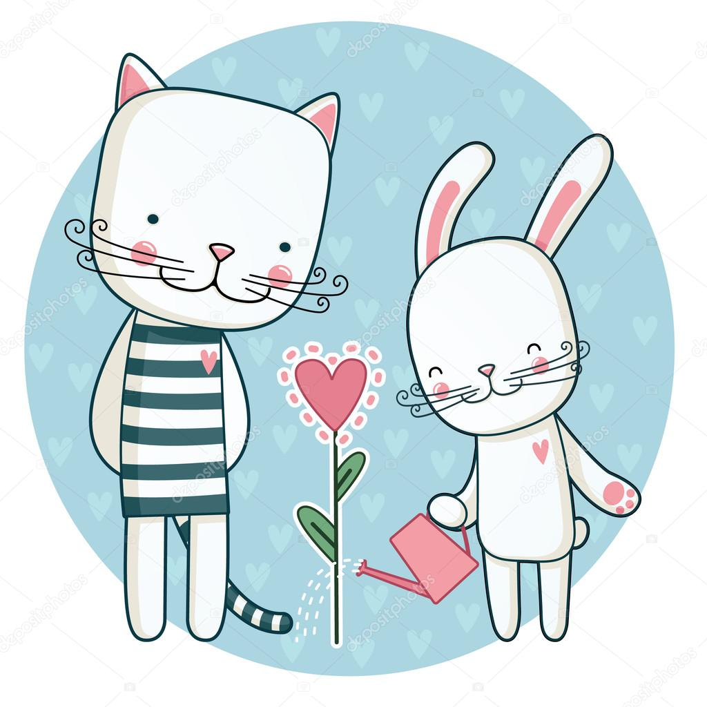 Cat and rabbit grow their love.