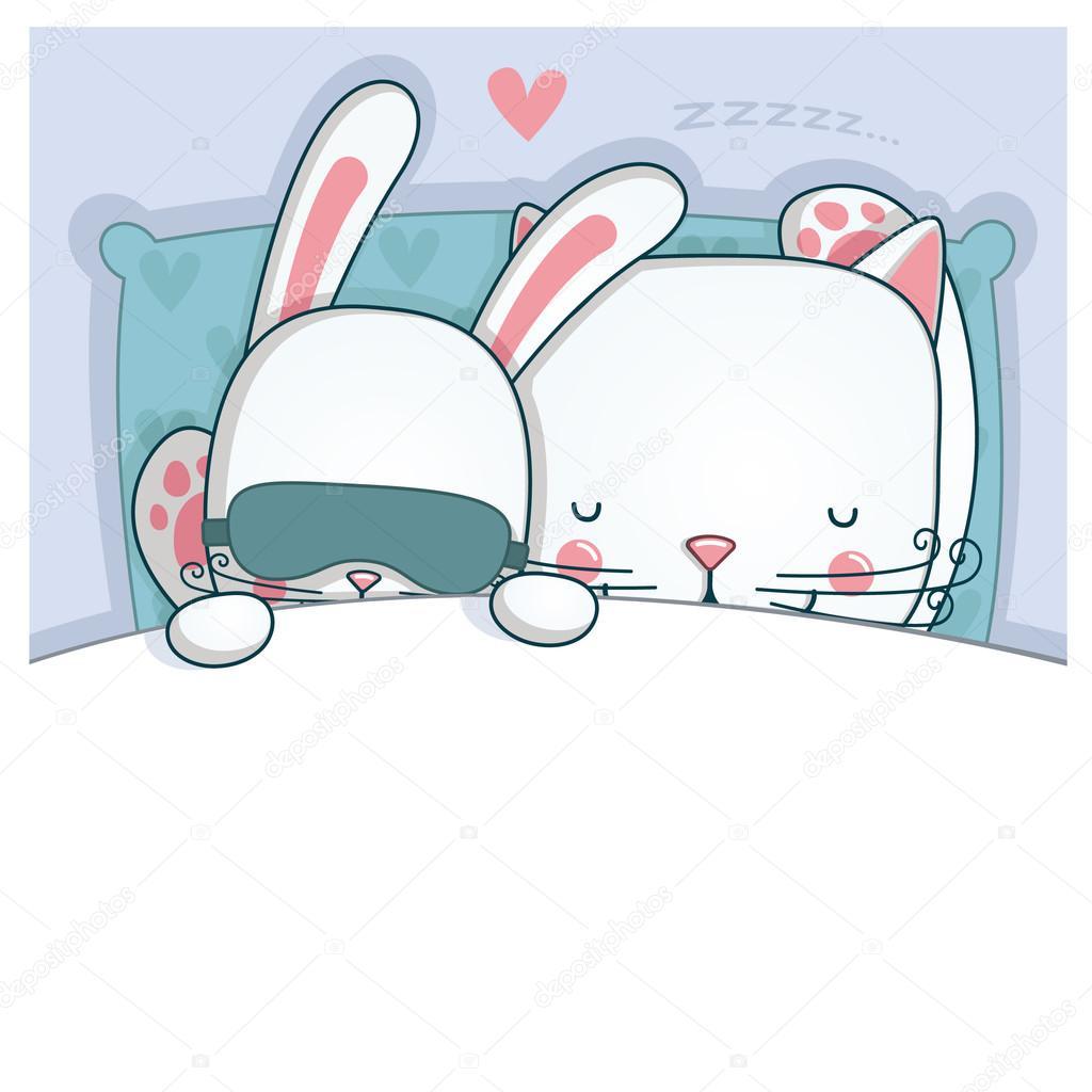 Днем марта, открытки кроликом котом