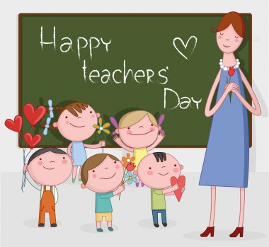 llustration of Kids Celebrating Teachers' Day