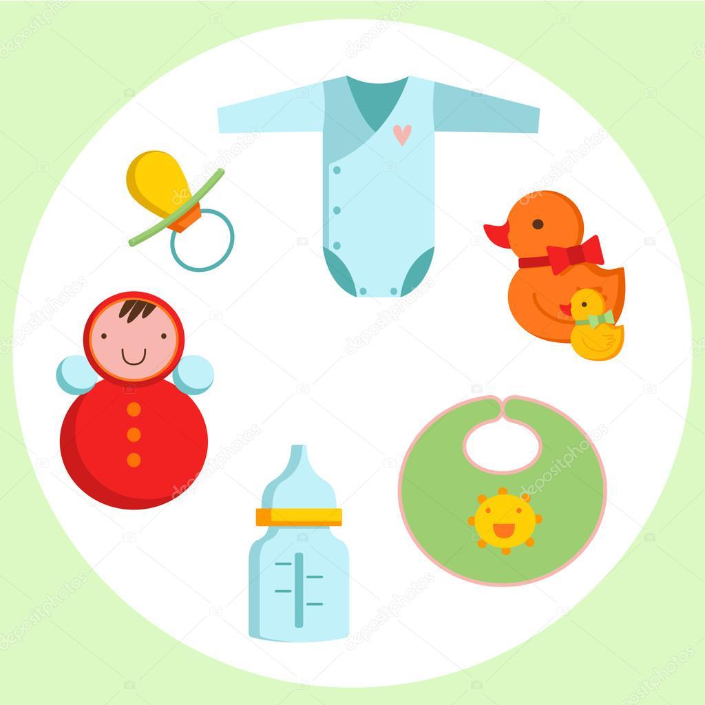 生まれたばかりの赤ちゃんのかわいいアイコン クリップアート — ストック