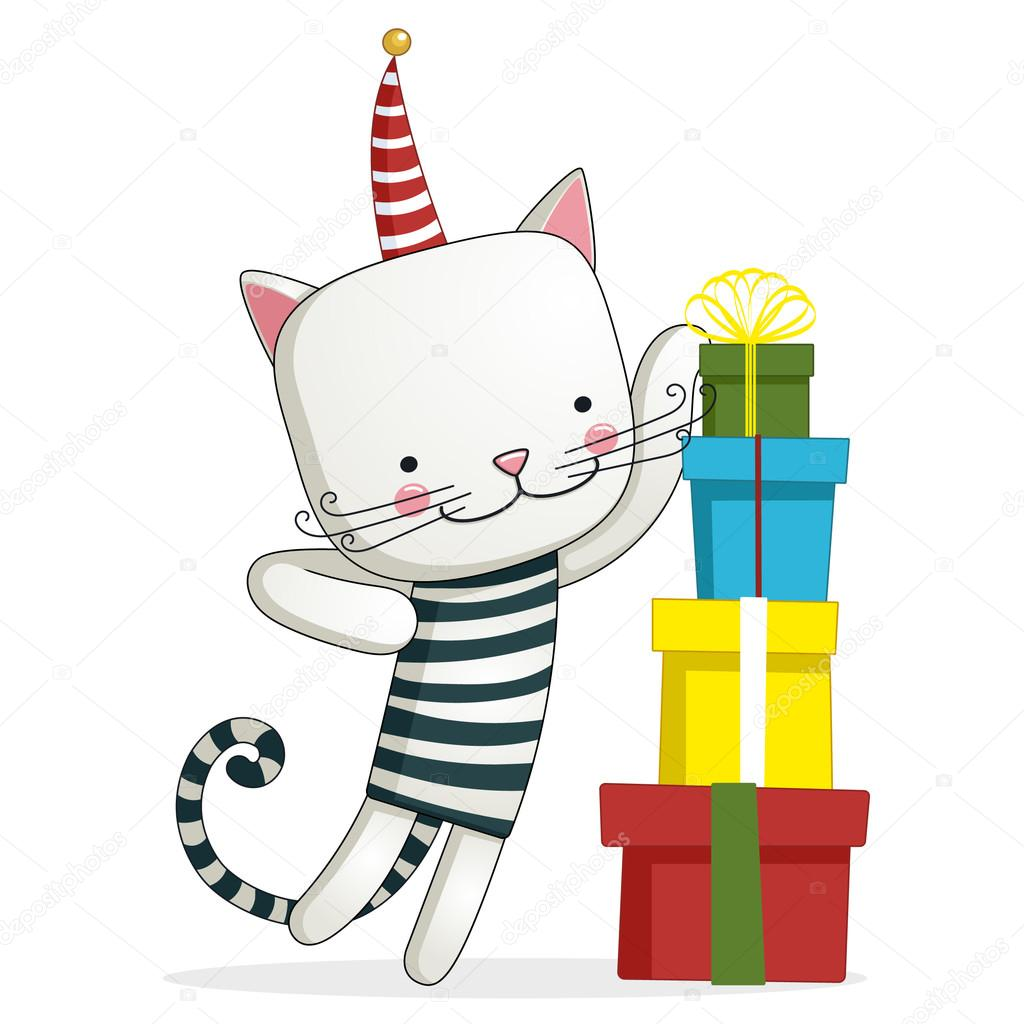 Greeting Card With Funny Cat Sitting On Gift Boxes Stock Vector