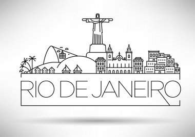 Linear Rio de Janeiro City Silhouette with Typographic Design stock vector