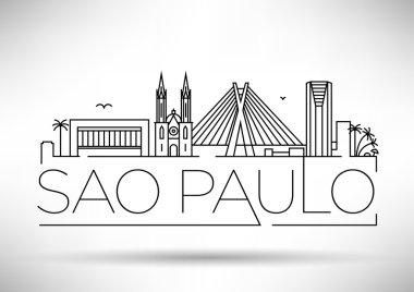Sao Paulo City Skyline with Typographic Design