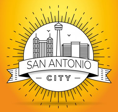 San Antonio City Skyline with Typographic Design