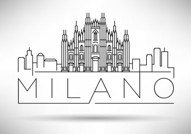 Milano City Skyline with Typographic Design
