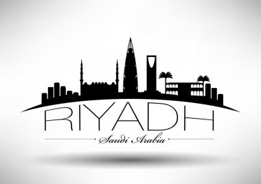 Riyadh Skyline with Typography Design