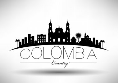Colombia Skyline Typography Design