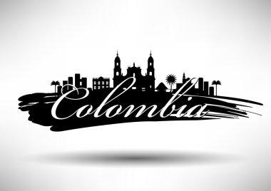 Colombia Skyline Typography Design