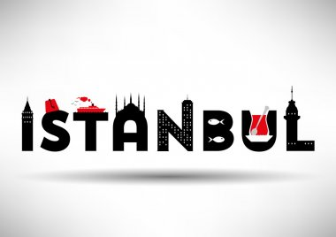 Istanbul Typographic Design with Symbols of Istanbul.