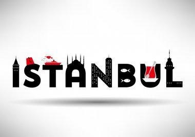 Istanbul Typographic Design with Symbols of Istanbul.