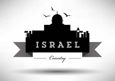 Israel Skyline with Typography Design