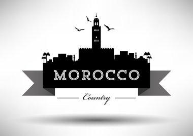 Morocco Skyline with Typography Design