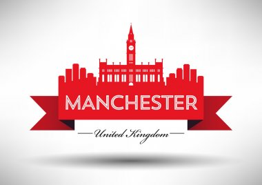 Manchester England city skyline silhouette.