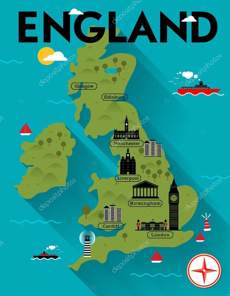 karta över glasgow Karta över England Illustration — Stock Vektor © kursatunsal #60811481 karta över glasgow