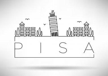 Pisa City Line Silhouette Typographic Design
