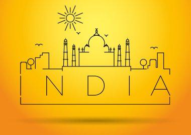 India City Line Silhouette Typographic Design