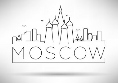 Moscow City Line Silhouette Typographic Design