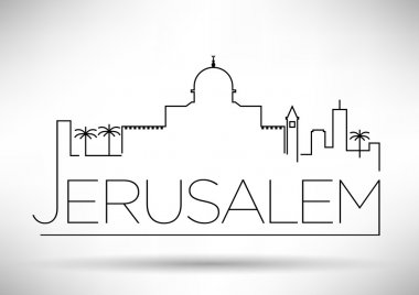 Jerusalem City Line Silhouette Typographic Design
