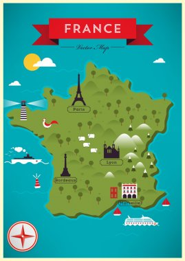 Colorful Map of France